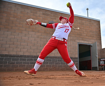 ALBUQUERQUE, NEW MEXICO - FEBRUARY 28, 2020:  Sarah Lisko #17 of the South Dakota Coyotes warms up before her team's game against the Northern Colorado Bears in the Lobo Classic at the Lobo Softball Field on February 28, 2020 in Albuquerque, New Mexico.  (Photo by Sam Wasson for South Dakota Athletics)