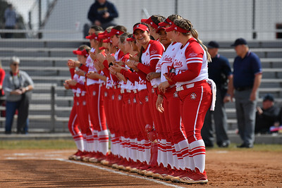 ALBUQUERQUE, NEW MEXICO - FEBRUARY 28, 2020:  The South Dakota Coyotes line up for player introductions before their game against the Northern Colorado Bears in the Lobo Classic at the Lobo Softball Field on February 28, 2020 in Albuquerque, New Mexico.  (Photo by Sam Wasson for South Dakota Athletics)