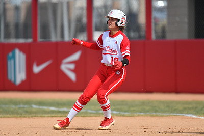 ALBUQUERQUE, NEW MEXICO - FEBRUARY 28, 2020:  Camille Fowler #10 of the South Dakota Coyotes rounds first base after hitting a pitch against the Northern Colorado Bears during their game in the Lobo Classic at the Lobo Softball Field on February 28, 2020 in Albuquerque, New Mexico.  (Photo by Sam Wasson for South Dakota Athletics)