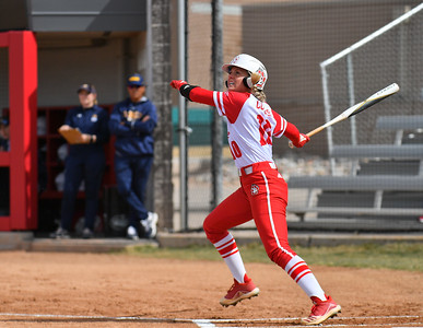 ALBUQUERQUE, NEW MEXICO - FEBRUARY 28, 2020:  Kierstin Denning #20 of the South Dakota Coyotes hits a pitch against the Northern Colorado Bears during their game in the Lobo Classic at the Lobo Softball Field on February 28, 2020 in Albuquerque, New Mexico.  (Photo by Sam Wasson for South Dakota Athletics)