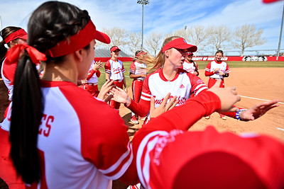 ALBUQUERQUE, NEW MEXICO - FEBRUARY 28, 2020:  The South Dakota Coyotes are introduced before their game against the Northern Colorado Bears in the Lobo Classic at the Lobo Softball Field on February 28, 2020 in Albuquerque, New Mexico.  (Photo by Sam Wasson for South Dakota Athletics)