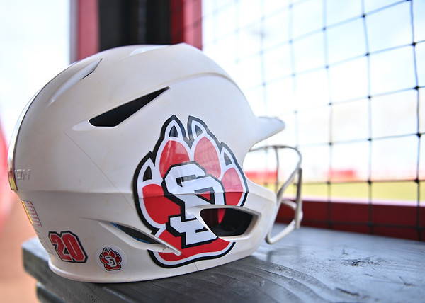 ALBUQUERQUE, NEW MEXICO - FEBRUARY 28, 2020:  A helmet is seen before a game between the South Dakota Coyotes and the Northern Colorado Bears in the Lobo Classic at the Lobo Softball Field on February 28, 2020 in Albuquerque, New Mexico.  (Photo by Sam Wasson for South Dakota Athletics)