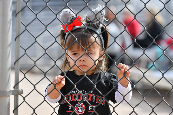 ALBUQUERQUE, NEW MEXICO - FEBRUARY 28, 2020:  A young South Dakota Coyotes fan attends a game between the Coyotes and the Northern Colorado Bears in the Lobo Classic at the Lobo Softball Field on February 28, 2020 in Albuquerque, New Mexico.  (Photo by Sam Wasson for South Dakota Athletics)