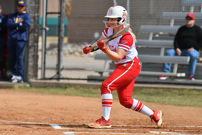 ALBUQUERQUE, NEW MEXICO - FEBRUARY 28, 2020:  Courtney Wilson #22 of the South Dakota Coyotes waits for a pitch against the Northern Colorado Bears during their game in the Lobo Classic at the Lobo Softball Field on February 28, 2020 in Albuquerque, New Mexico.  (Photo by Sam Wasson for South Dakota Athletics)