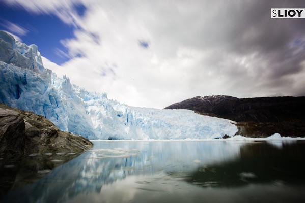 Long-exposure of the El Brujo glacier in Bernardo O'Higgins National Park in Chilean Patagonia.
