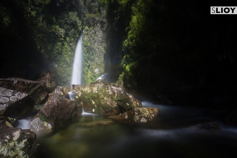 Lower Waterfall on Parque Pumalin's Hidden Waterfalls Trail.
