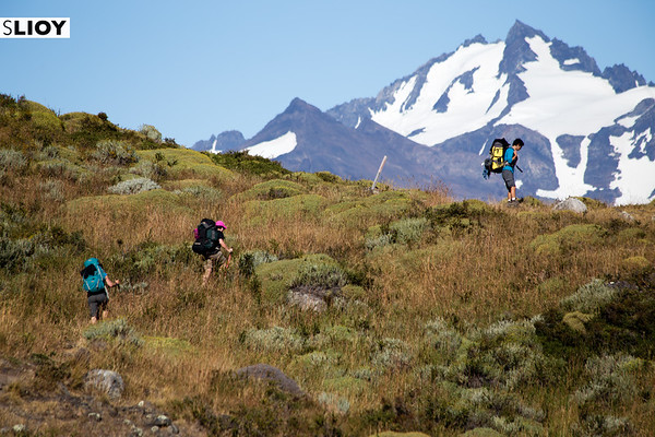 Hikers near Serron campsite on the Torres del Paine Q route in Chilean Patagonia.