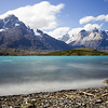 Long-exposure of Lago Pehoe and the Cuernos in Torres del Paine National Park.