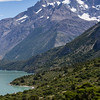 View of Refugio Cuernos from above on the Torres del Paine trek in Chilean Patagonia.