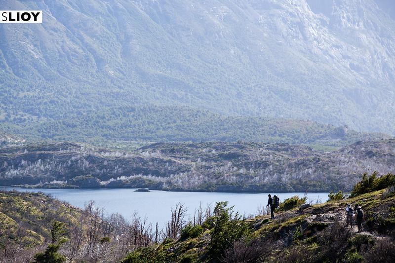 Hiking near Lago Skottsberg on the Torres del Paine circuit in Chilean Patagonia.
