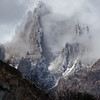 Clouds envelop a mountain near Refugio Grey on the Torres del Paine circuit trek in Chilean Patagonia.