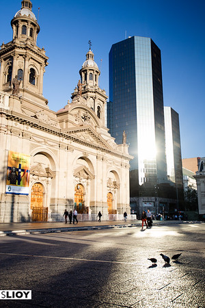 View of the Santiago Metropolitan Cathedral and Plaza del Armas in Chile.
