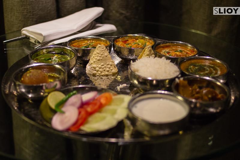An Indian Thali food plate in Delhi.
