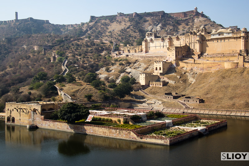 Amber Fort and Water Garden in the hills near Jaipur.