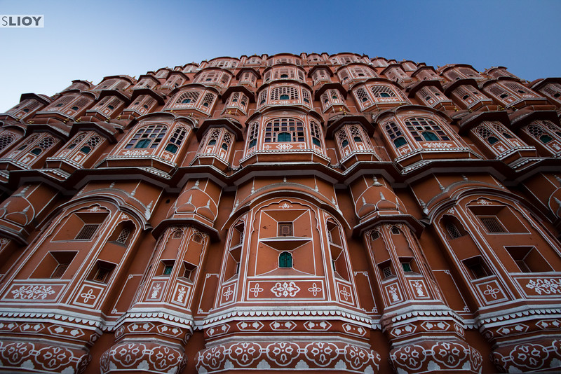 Outside the Palace of the Winds in Jaipur.