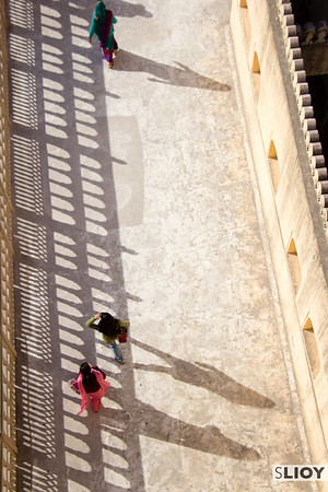 Long shadows in the Palace of the Winds in Jaipur.
