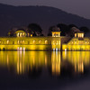 Nighttime reflections at Jaipur's Water Palace.