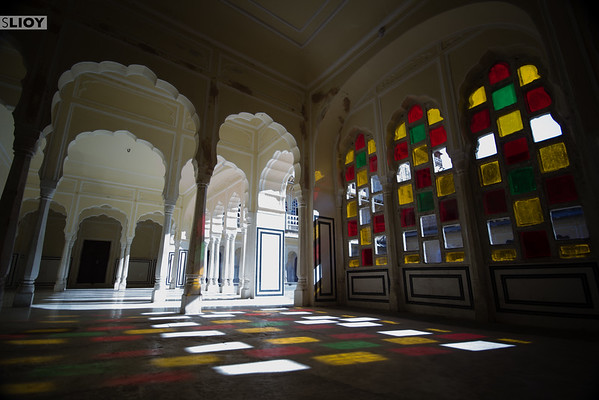 Patterns of light in the Palace of the Winds.