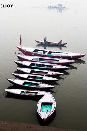 Boats on the Ganges River ghats in Varanasi, India.