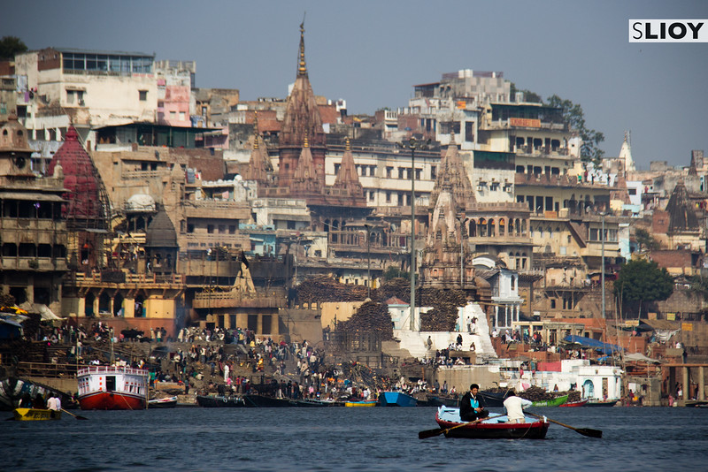 Boats on the Ganges River near the ghats in Varanasi, India.