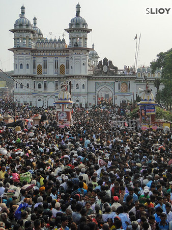 Crowds at Janaki Mandir during Sita Bibiha Festival in Japakpur, Nepal