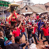 Preparing to clash with another shrine during Bisket Jatra.