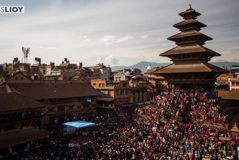 Nyatapola Temple and Taumhadi Square filled with revelers during Bisket Jatra.