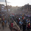 Felling of the Yoshin Pole at the BisketJatra festival in Bhaktapur, Nepal.
