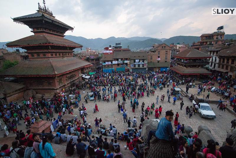 Looking down over Taumadhi Square during the Bisket Jatra festival.