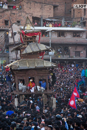 Crowds surrounding the Bhairab Chariot during the Bisket Jatra festival in the Nepal town of Bhaktapur.