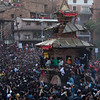 Crowds surrounding the Bhairab Chariot during Bisket Jatra in Nepal.