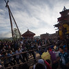 Pulling the chariot of Bhairab at Bisket Jatra 2015 in Bhaktapur.