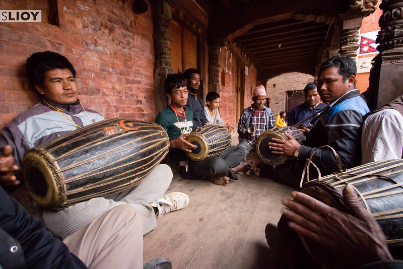 Musicians awaiting a procession during Bisket Jatra.