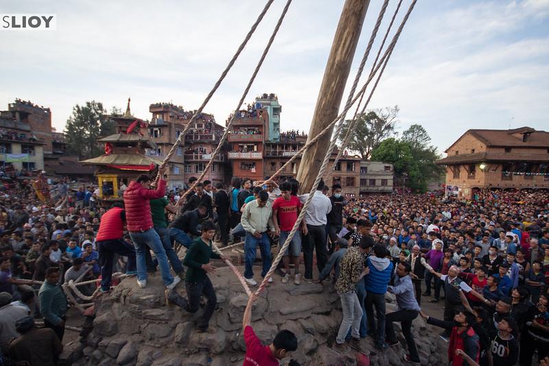 Taking down the Yoshin pole on Nepali New Year during Bisket Jatra.