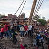 Taking down the Yoshin pole on Nepali New Year during Bisket Jatra.