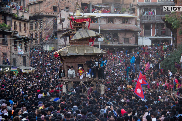 Crowds surrounding the Bhairab Chariot during Bisket Jatra in Bhaktapur.