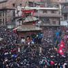 Crowds surrounding the Bhairab Chariot during Bisket Jatra in Bhaktapur.