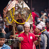Carrying a shrine atop a palanquin during Bisket Jatra 2015 in Bhaktapur, Nepal.