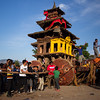 Preparing to pull the chariot of Bhairab to the top of Bhaktapur.