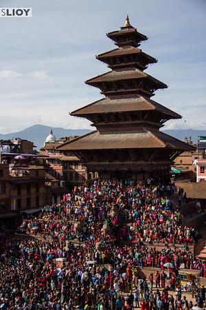 Nyatapola Temple covered in spectators during Bisket Jatra Festival.