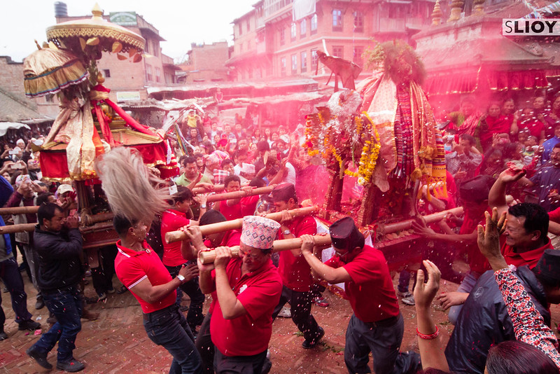 The shrines of two Hindu gods collide on the streets of Bhaktapur during Bisket Jatra 2015.