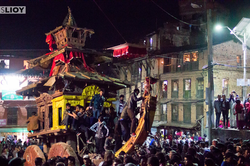 The celebrations for Bisket Jatra carry on long into the night. Here, the chariot of Bhairab makes another round through Bhaktapur. It would eventually be abandoned here, to wait for revelers to try again the next morning.