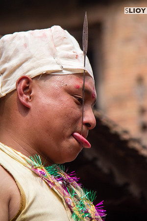 During the Sunder Jatra festival, in the village of Bode, a local man pierces his tongue with a steel needle in order to bring good fortune to the village for the coming year. The event is part of the larger Bisket Jatra festival during Nepali New Year, celebrated in the town of Bhaktapur near Kathmandu.
