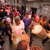 Musicians beat out a tune during the Sunder Jatra celebrations in Bode.