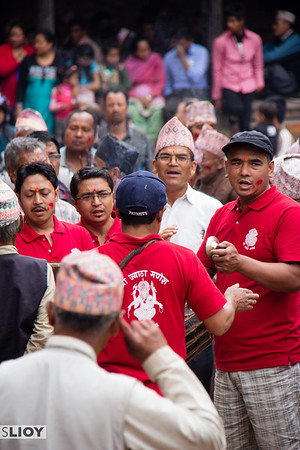 Local men singing on the streets of Bhaktapur during the Bisket Jatra festival in 2015.