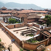 High view of the old Bhaktapur palace in Nepal's Kathmandu Valley.