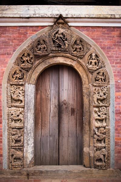 Old carved door at Patan Durbar in Kathmandu Nepal.