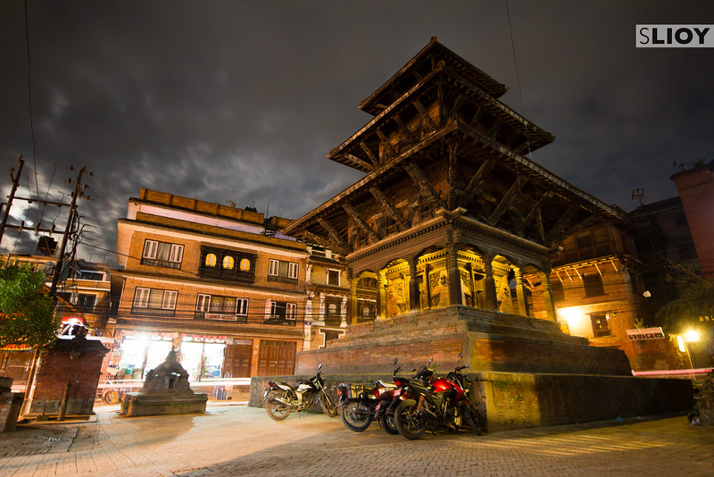 Quiet night near the temples of Patan (Basantpur) Durbar Square.