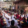 Novice Buddhist Monks at an initiation ceremony in Patan in Nepal's Kathmandu Valley.