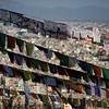 Prayer flags over the Swayambhu Monkey Temple in Kathmandu, Nepal.